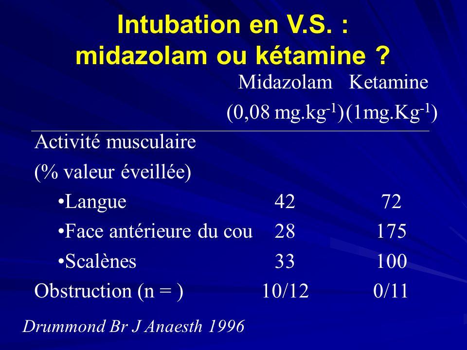 Intubation en V.S.: midazolam ou kétamine .