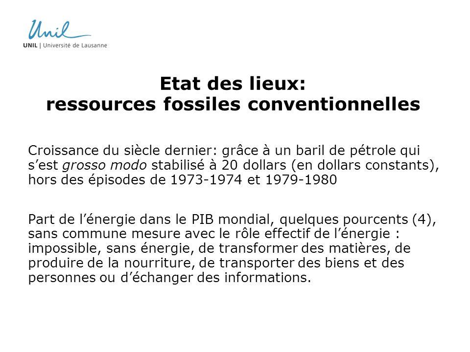 Etat des lieux: ressources fossiles conventionnelles Croissance du siècle dernier: grâce à un baril de pétrole qui sest grosso modo stabilisé à 20 dol