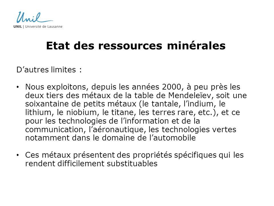 Etat des ressources minérales Dautres limites : Nous exploitons, depuis les années 2000, à peu près les deux tiers des métaux de la table de Mendeleïe