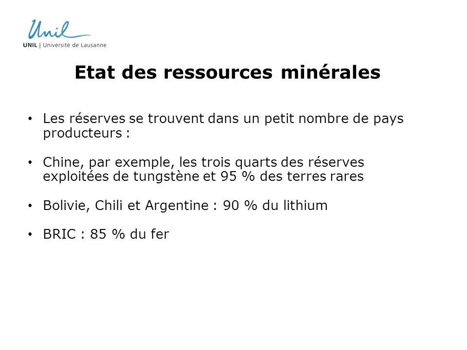 Etat des ressources minérales Les réserves se trouvent dans un petit nombre de pays producteurs : Chine, par exemple, les trois quarts des réserves ex