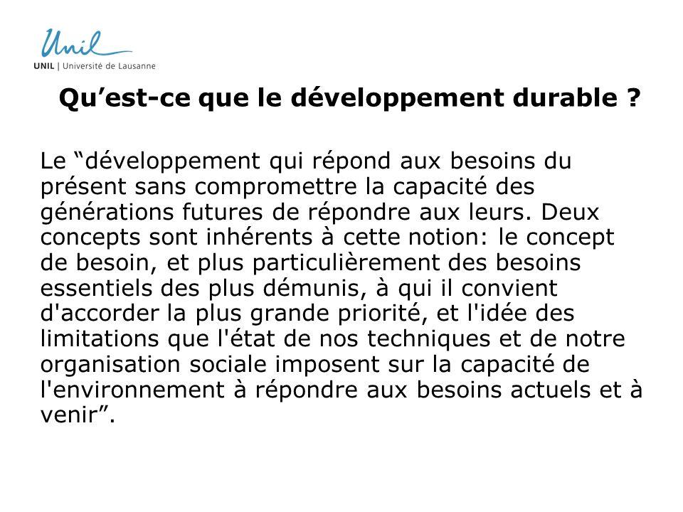 Quest-ce que le développement durable ? Le développement qui répond aux besoins du présent sans compromettre la capacité des générations futures de ré