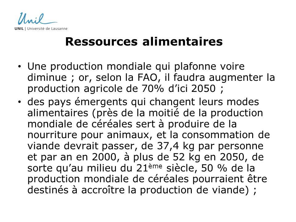 Ressources alimentaires Une production mondiale qui plafonne voire diminue ; or, selon la FAO, il faudra augmenter la production agricole de 70% dici
