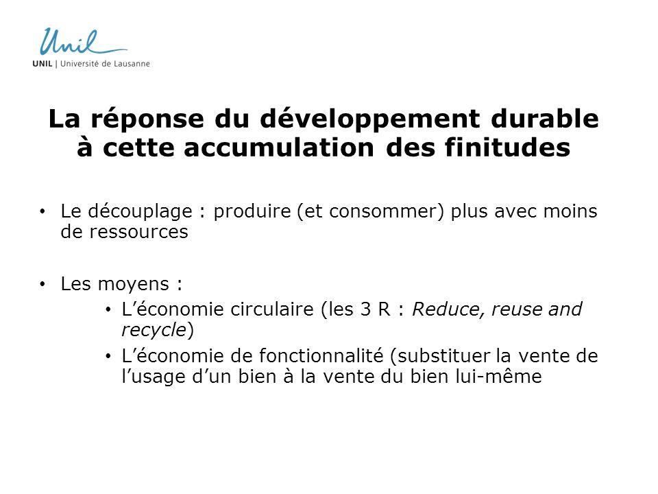 La réponse du développement durable à cette accumulation des finitudes Le découplage : produire (et consommer) plus avec moins de ressources Les moyen