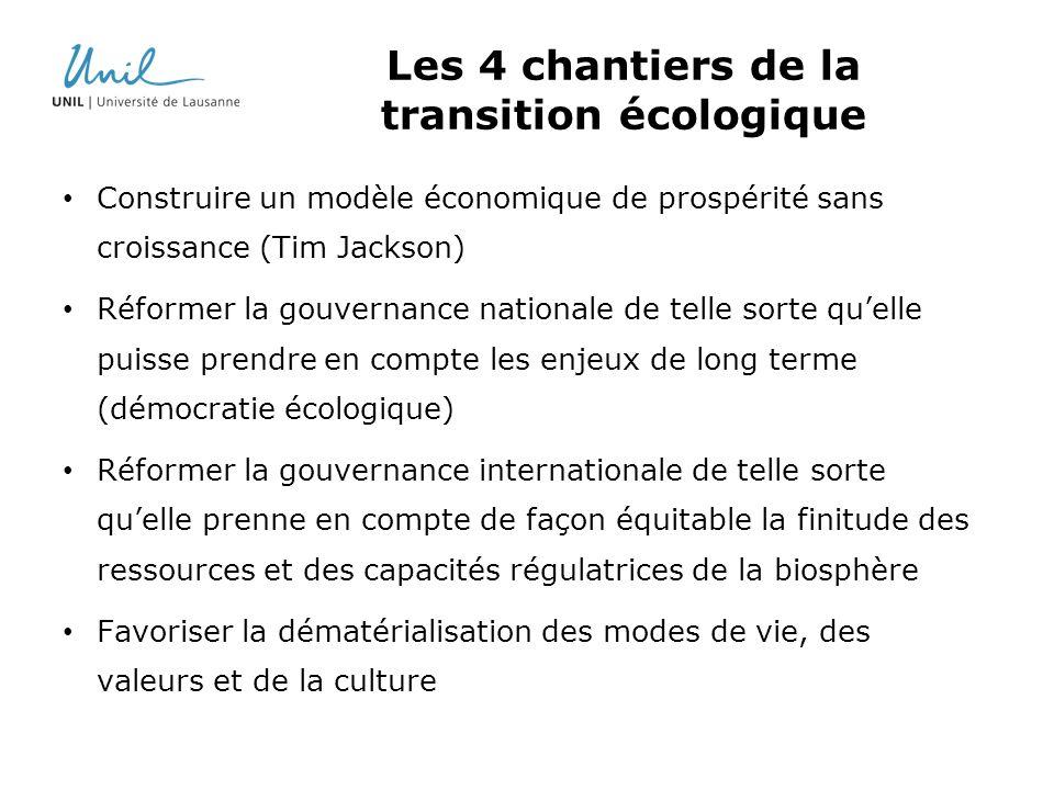 Les 4 chantiers de la transition écologique Construire un modèle économique de prospérité sans croissance (Tim Jackson) Réformer la gouvernance nation