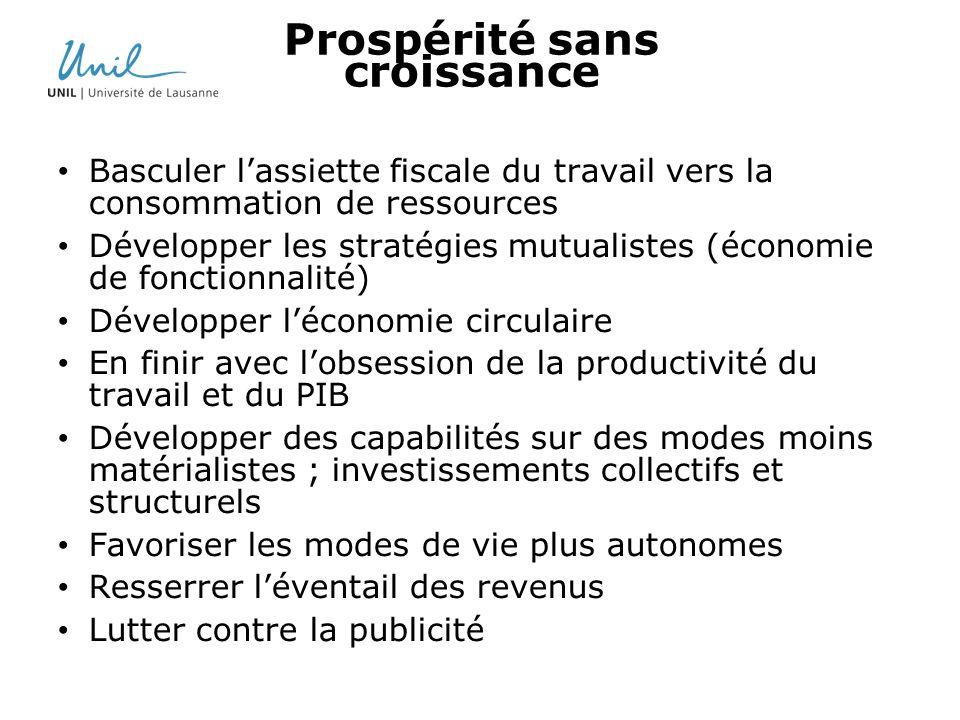 Prospérité sans croissance Basculer lassiette fiscale du travail vers la consommation de ressources Développer les stratégies mutualistes (économie de