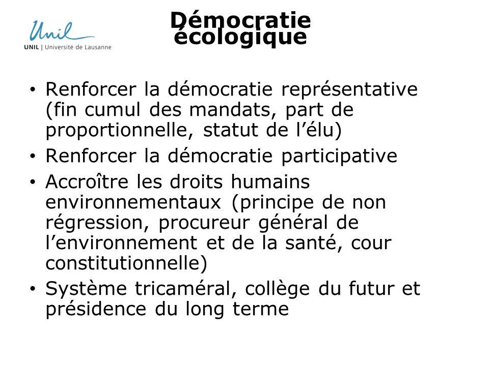 Démocratie écologique Renforcer la démocratie représentative (fin cumul des mandats, part de proportionnelle, statut de lélu) Renforcer la démocratie