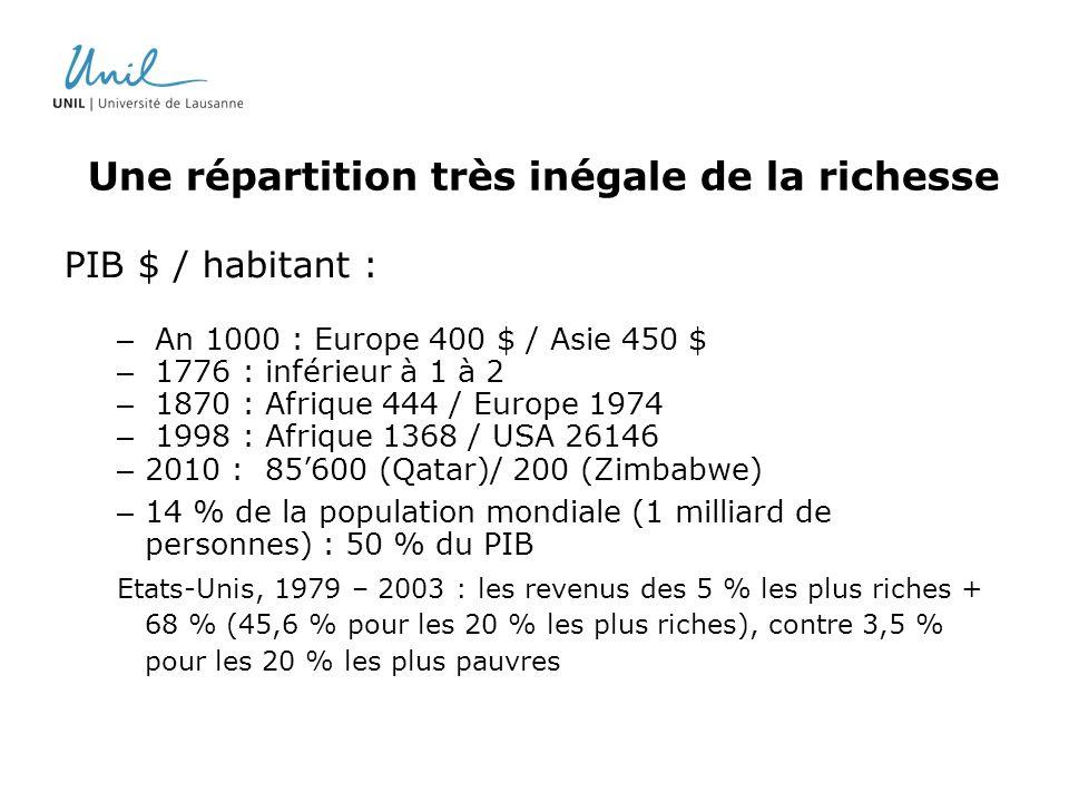 Une répartition très inégale de la richesse PIB $ / habitant : – An 1000 : Europe 400 $ / Asie 450 $ – 1776 : inférieur à 1 à 2 – 1870 : Afrique 444 /