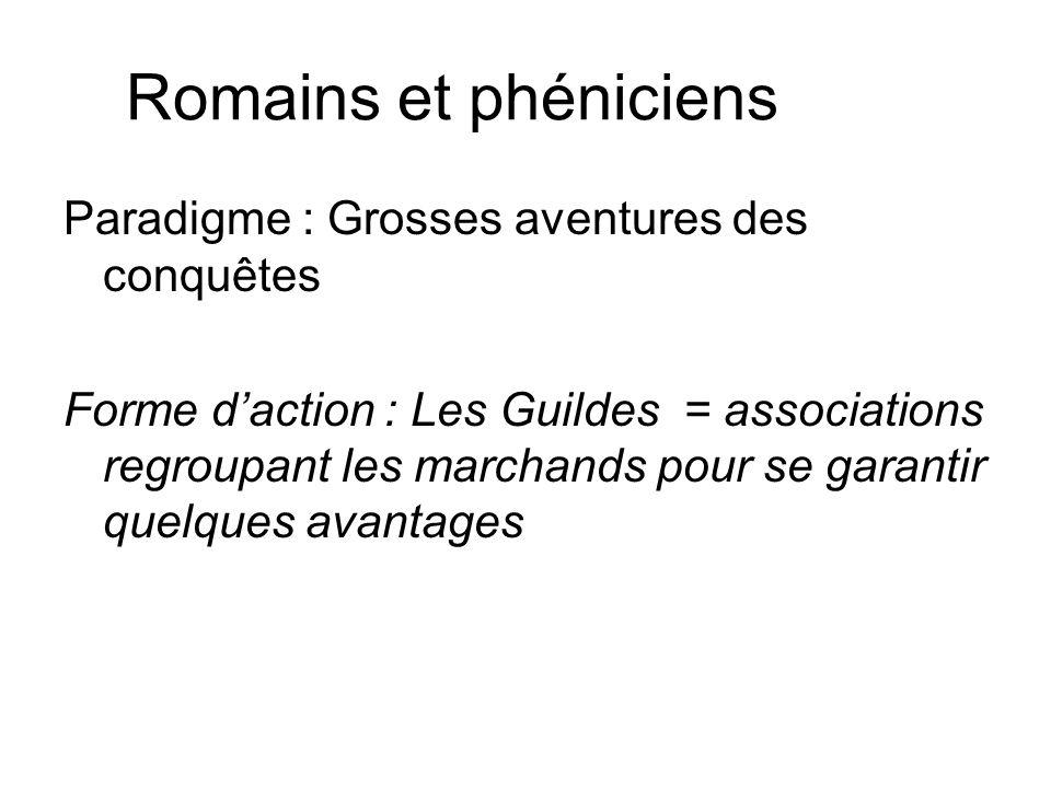 Romains et phéniciens Paradigme : Grosses aventures des conquêtes Forme daction : Les Guildes = associations regroupant les marchands pour se garantir quelques avantages