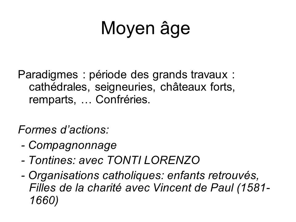 Moyen âge Paradigmes : période des grands travaux : cathédrales, seigneuries, châteaux forts, remparts, … Confréries.