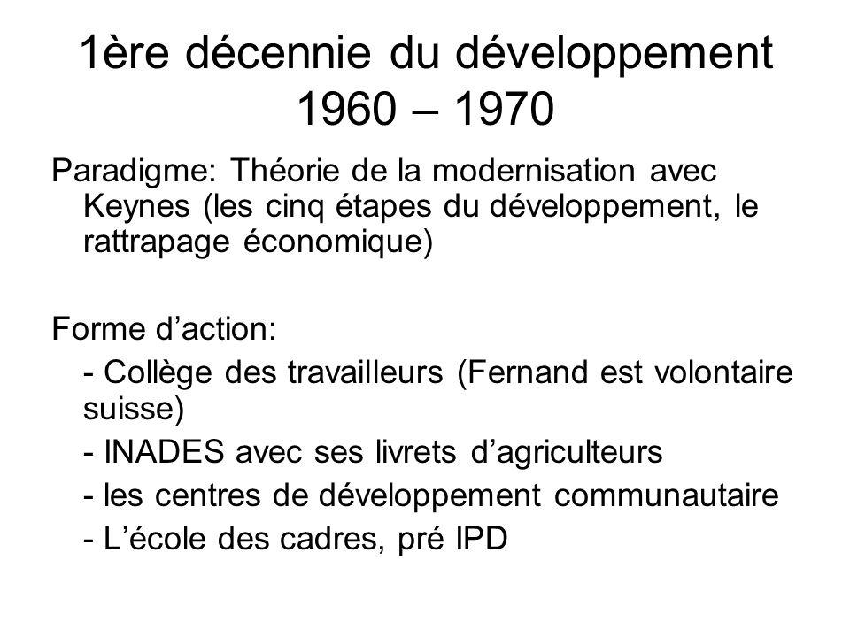 1ère décennie du développement 1960 – 1970 Paradigme: Théorie de la modernisation avec Keynes (les cinq étapes du développement, le rattrapage économique) Forme daction: - Collège des travailleurs (Fernand est volontaire suisse) - INADES avec ses livrets dagriculteurs - les centres de développement communautaire - Lécole des cadres, pré IPD