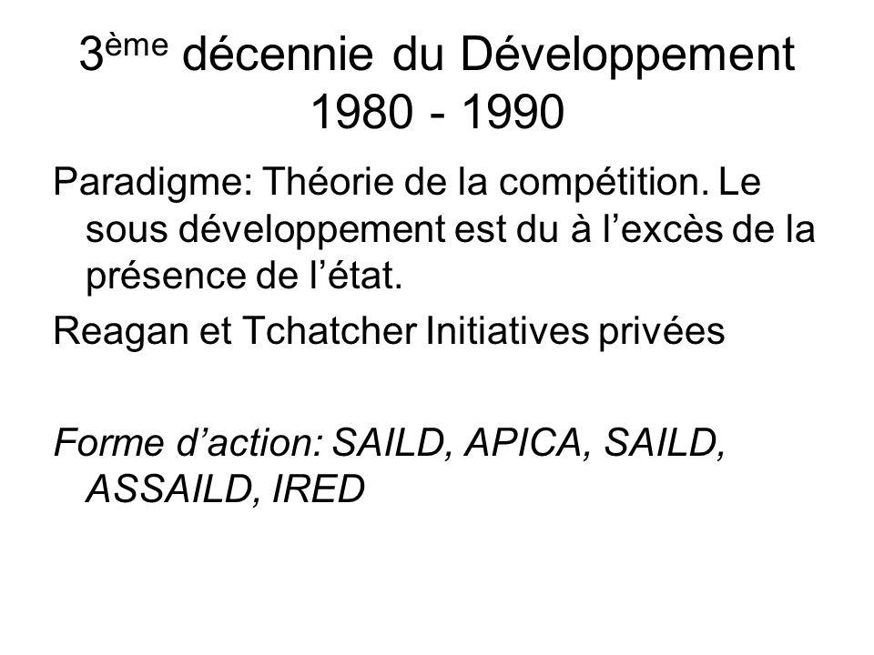 3 ème décennie du Développement 1980 - 1990 Paradigme: Théorie de la compétition.