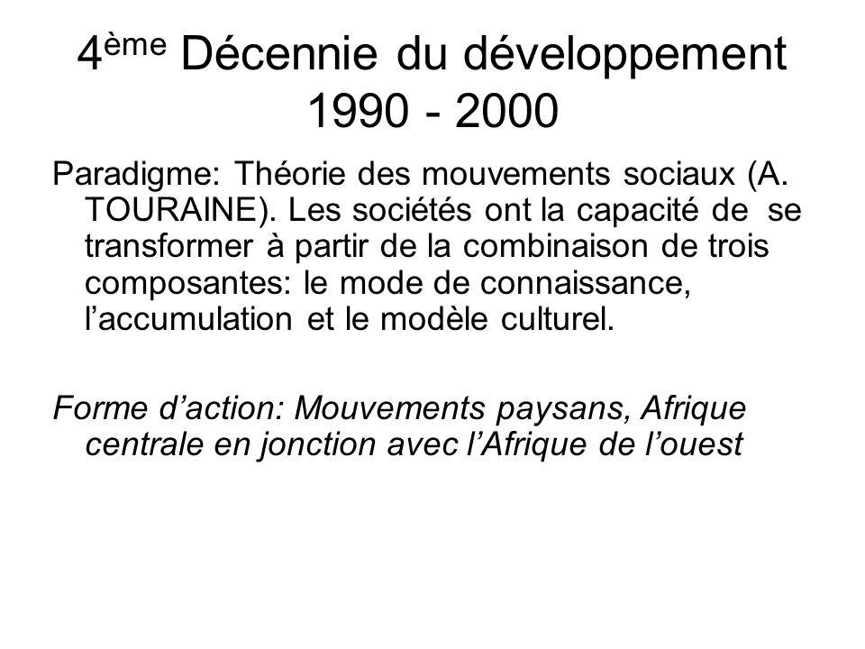 4 ème Décennie du développement 1990 - 2000 Paradigme: Théorie des mouvements sociaux (A.