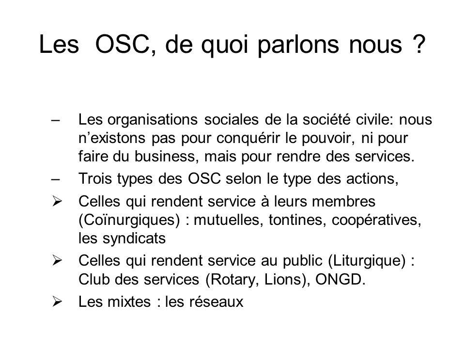 Les OSC, de quoi parlons nous .