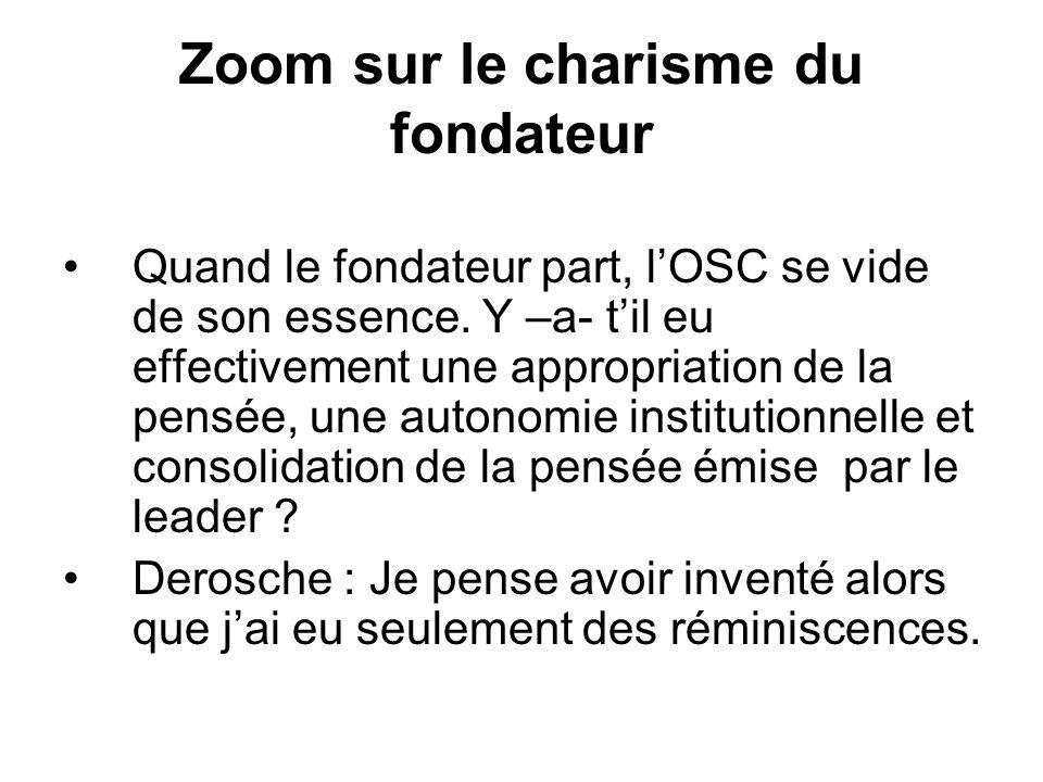 Zoom sur le charisme du fondateur Quand le fondateur part, lOSC se vide de son essence.