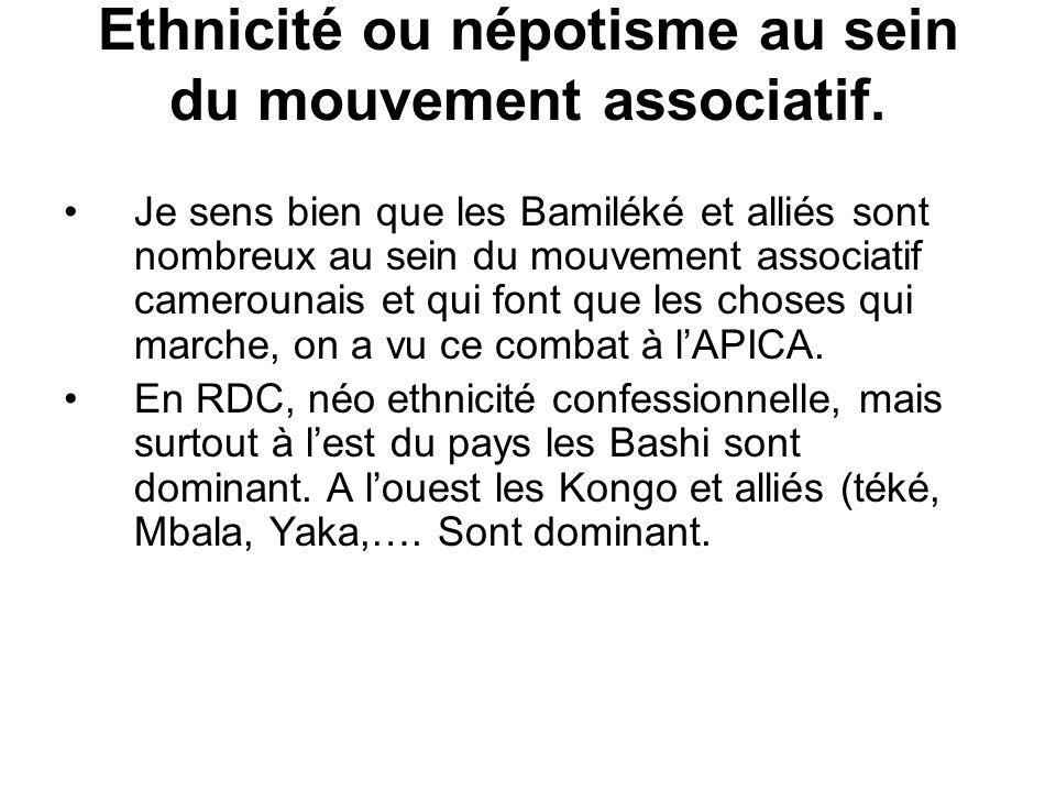 Ethnicité ou népotisme au sein du mouvement associatif.