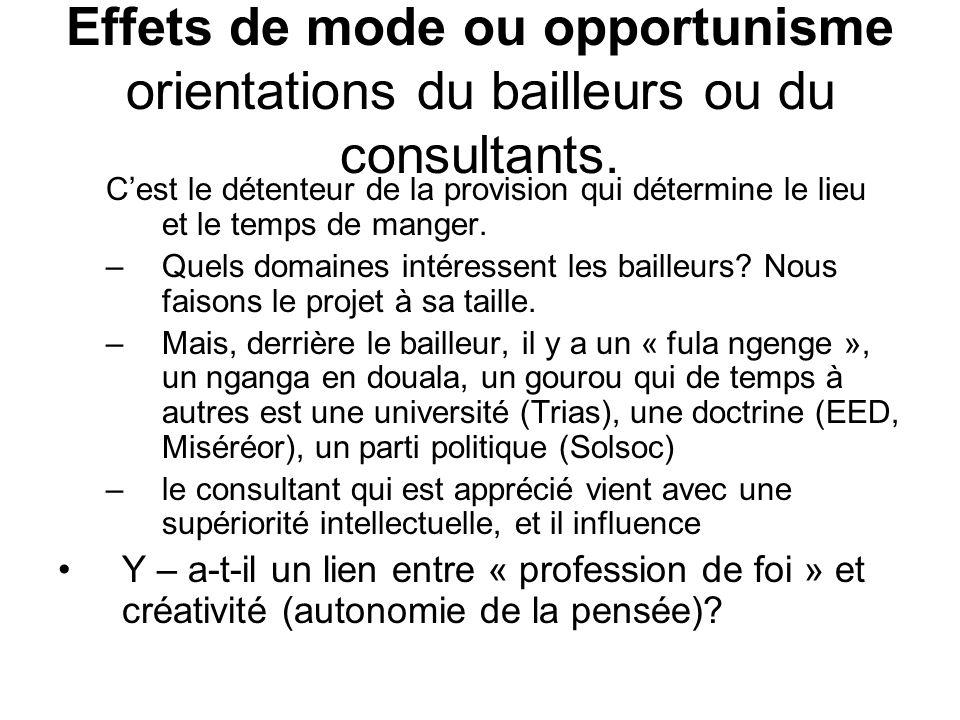 Effets de mode ou opportunisme orientations du bailleurs ou du consultants.