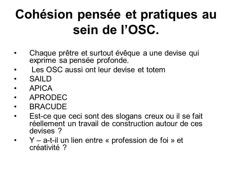 Cohésion pensée et pratiques au sein de lOSC.
