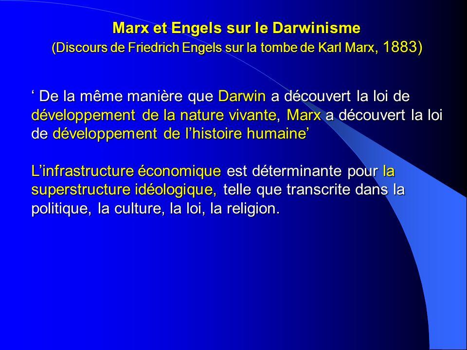 Marx et Engels sur le Darwinisme (Discours de Friedrich Engels sur la tombe de Karl Marx, 1883) De la même manière que Darwin a découvert la loi de dé