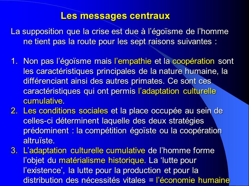 Les messages centraux La supposition que la crise est due à légoïsme de lhomme ne tient pas la route pour les sept raisons suivantes : 1.Non pas légoï