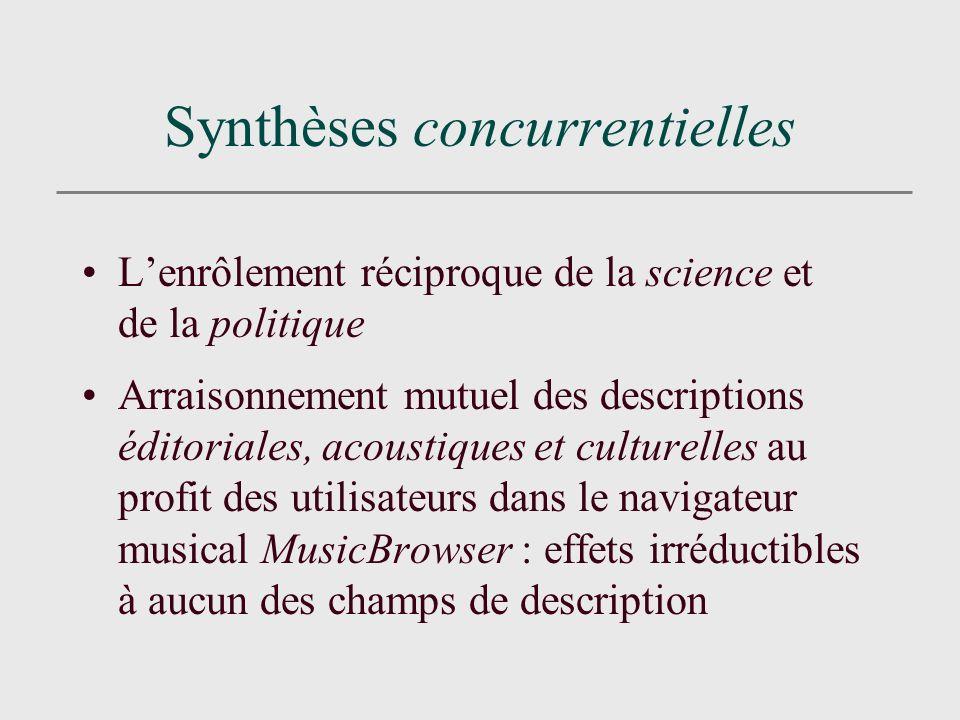 Synthèses concurrentielles Lenrôlement réciproque de la science et de la politique Arraisonnement mutuel des descriptions éditoriales, acoustiques et culturelles au profit des utilisateurs dans le navigateur musical MusicBrowser : effets irréductibles à aucun des champs de description
