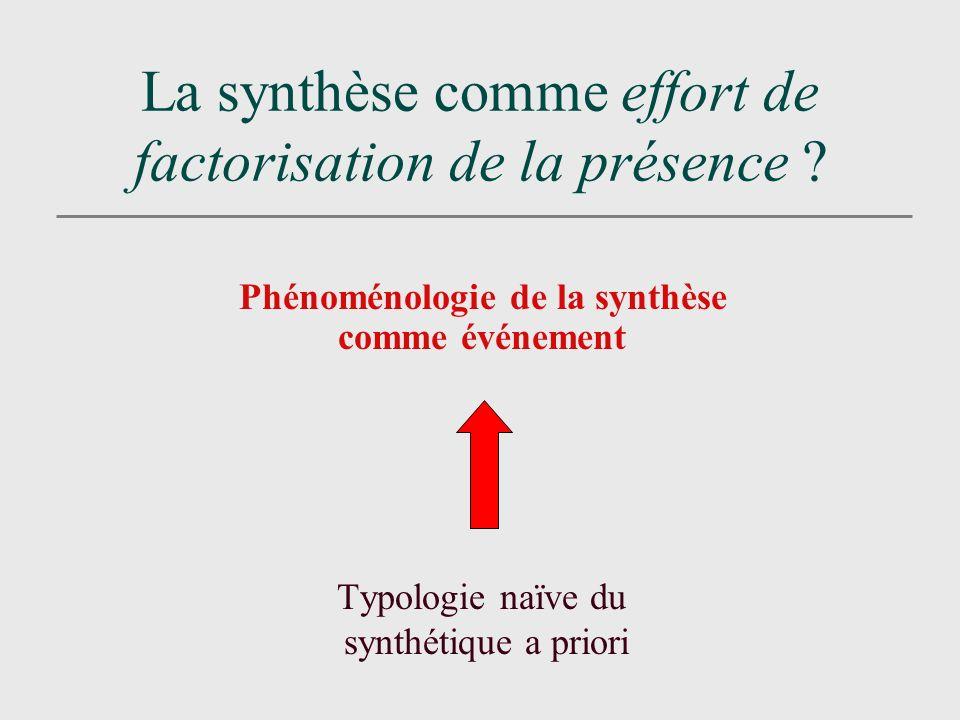 La synthèse comme effort de factorisation de la présence .