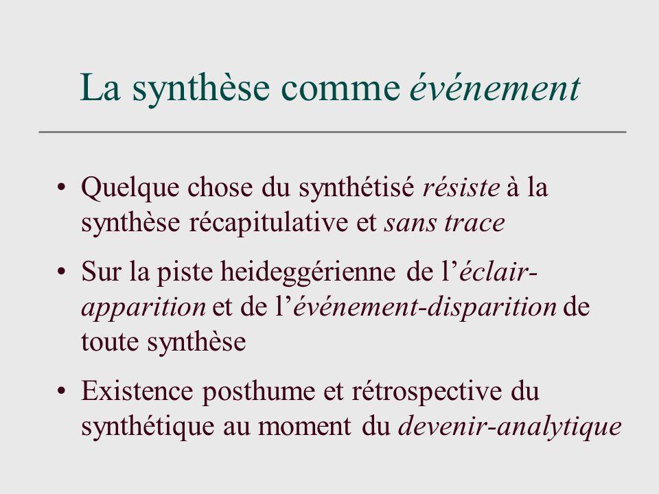 La synthèse comme événement Quelque chose du synthétisé résiste à la synthèse récapitulative et sans trace Sur la piste heideggérienne de léclair- apparition et de lévénement-disparition de toute synthèse Existence posthume et rétrospective du synthétique au moment du devenir-analytique