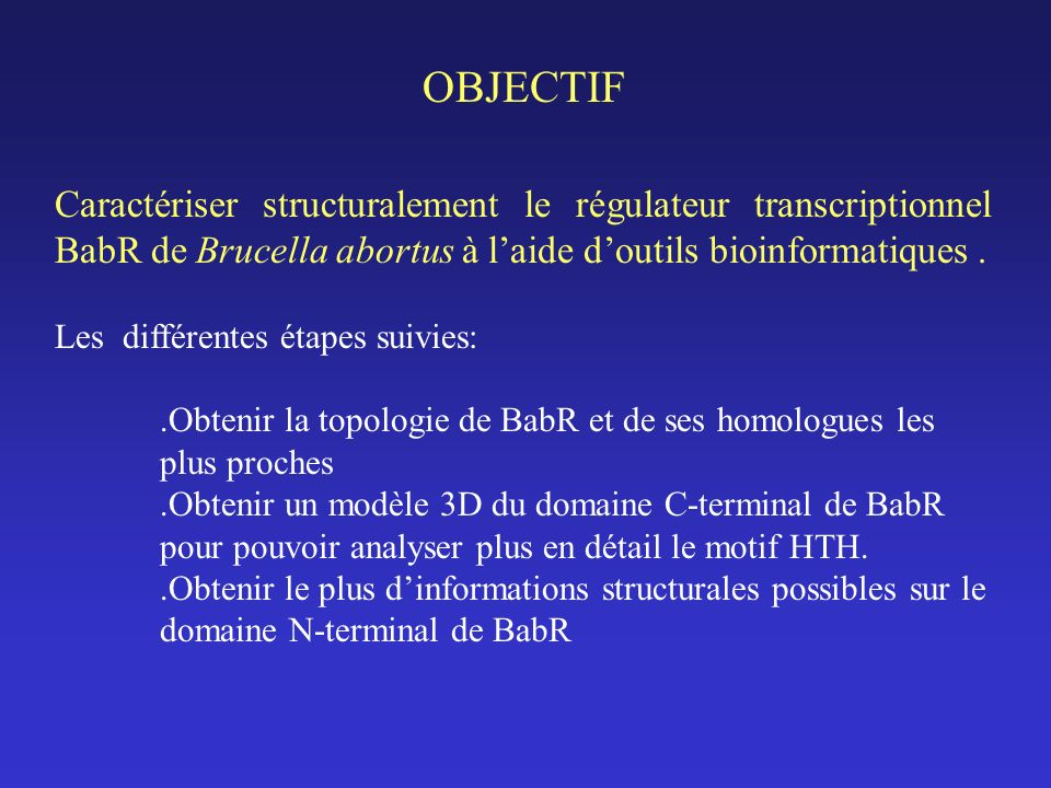 OBJECTIF Caractériser structuralement le régulateur transcriptionnel BabR de Brucella abortus à laide doutils bioinformatiques.
