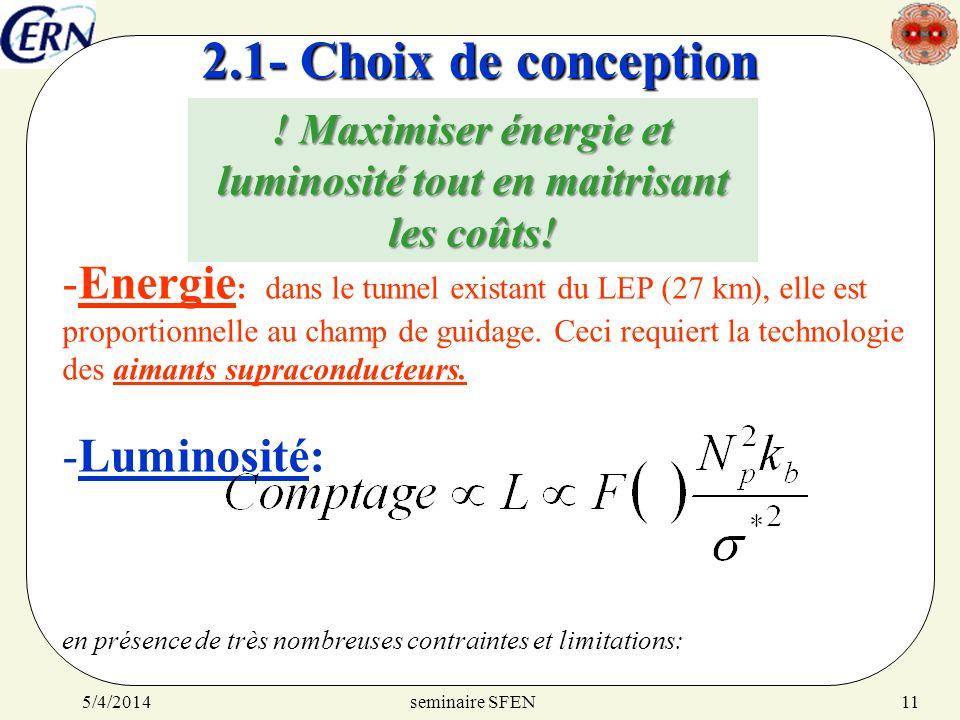 seminaire SFEN5/4/201411 2.1- Choix de conception -Energie : dans le tunnel existant du LEP (27 km), elle est proportionnelle au champ de guidage. Cec