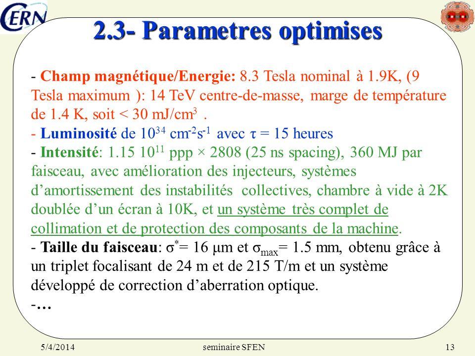 seminaire SFEN5/4/201413 2.3- Parametres optimises - Champ magnétique/Energie: 8.3 Tesla nominal à 1.9K, (9 Tesla maximum ): 14 TeV centre-de-masse, m