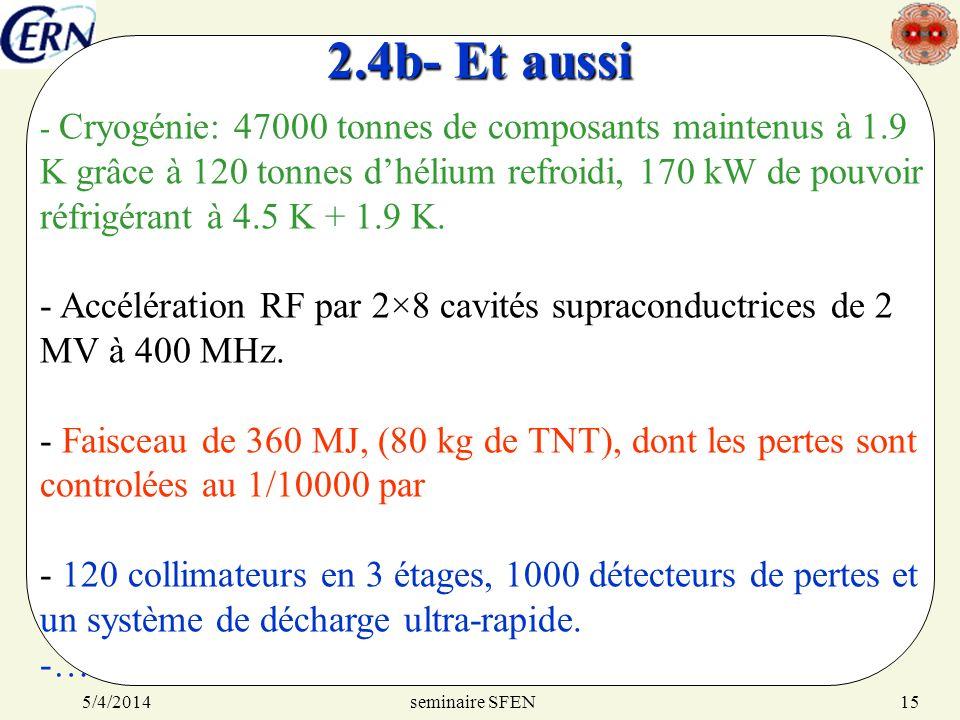 seminaire SFEN5/4/201415 2.4b- Et aussi - Cryogénie: 47000 tonnes de composants maintenus à 1.9 K grâce à 120 tonnes dhélium refroidi, 170 kW de pouvo