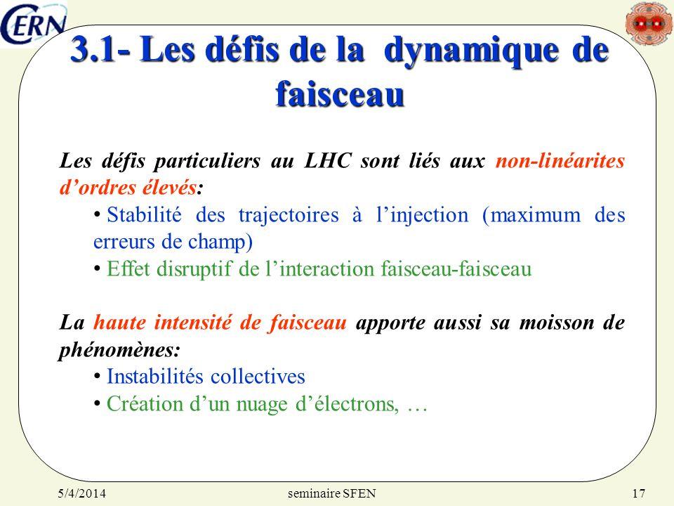 seminaire SFEN5/4/201417 3.1- Les défis de la dynamique de faisceau Les défis particuliers au LHC sont liés aux non-linéarites dordres élevés: Stabili