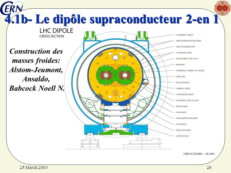 25 March 200326 4.1b- Le dipôle supraconducteur 2-en 1 Construction des masses froides: Alstom-Jeumont, Ansaldo, Babcock Noell N.