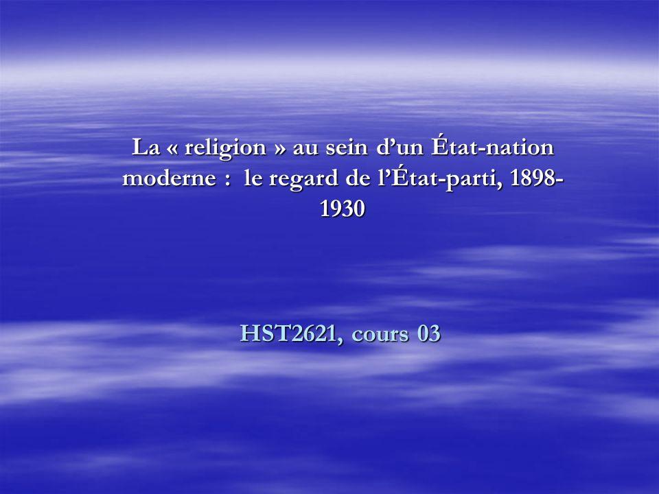 HST2621, cours 03 La « religion » au sein dun État-nation moderne : le regard de lÉtat-parti, 1898- 1930