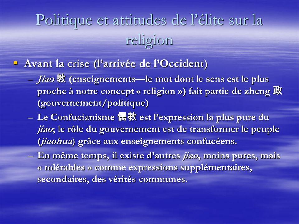 Politique et attitudes de lélite sur la religion Avant la crise (larrivée de lOccident) Avant la crise (larrivée de lOccident) –Jiao (enseignementsle
