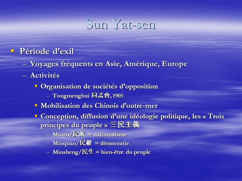 Sun Yat-sen Période dexil Période dexil –Voyages fréquents en Asie, Amérique, Europe –Activités Organisation de sociétés dopposition Organisation de s