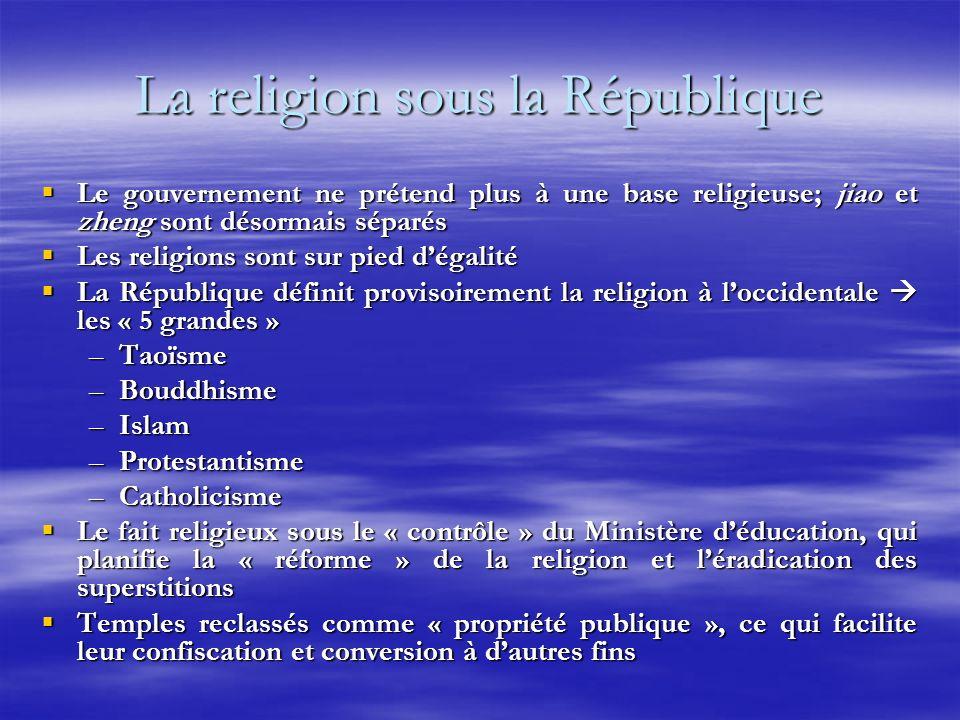 La religion sous la République Le gouvernement ne prétend plus à une base religieuse; jiao et zheng sont désormais séparés Le gouvernement ne prétend plus à une base religieuse; jiao et zheng sont désormais séparés Les religions sont sur pied dégalité Les religions sont sur pied dégalité La République définit provisoirement la religion à loccidentale les « 5 grandes » La République définit provisoirement la religion à loccidentale les « 5 grandes » –Taoïsme –Bouddhisme –Islam –Protestantisme –Catholicisme Le fait religieux sous le « contrôle » du Ministère déducation, qui planifie la « réforme » de la religion et léradication des superstitions Le fait religieux sous le « contrôle » du Ministère déducation, qui planifie la « réforme » de la religion et léradication des superstitions Temples reclassés comme « propriété publique », ce qui facilite leur confiscation et conversion à dautres fins Temples reclassés comme « propriété publique », ce qui facilite leur confiscation et conversion à dautres fins