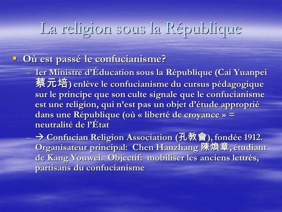 La religion sous la République Où est passé le confucianisme.