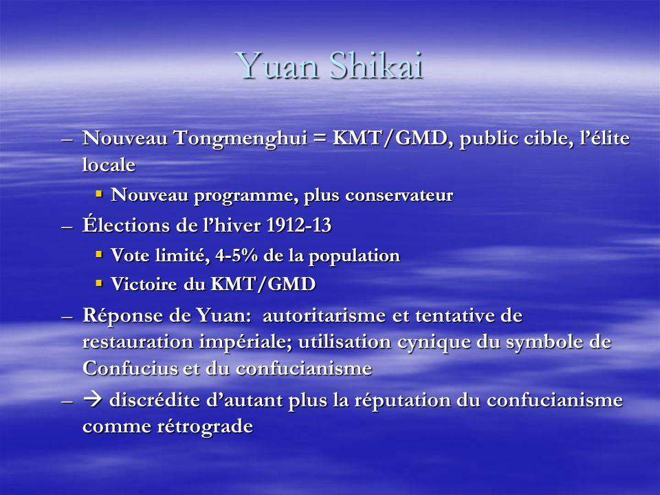 Yuan Shikai –Nouveau Tongmenghui = KMT/GMD, public cible, lélite locale Nouveau programme, plus conservateur Nouveau programme, plus conservateur –Élections de lhiver 1912-13 Vote limité, 4-5% de la population Vote limité, 4-5% de la population Victoire du KMT/GMD Victoire du KMT/GMD –Réponse de Yuan: autoritarisme et tentative de restauration impériale; utilisation cynique du symbole de Confucius et du confucianisme – discrédite dautant plus la réputation du confucianisme comme rétrograde