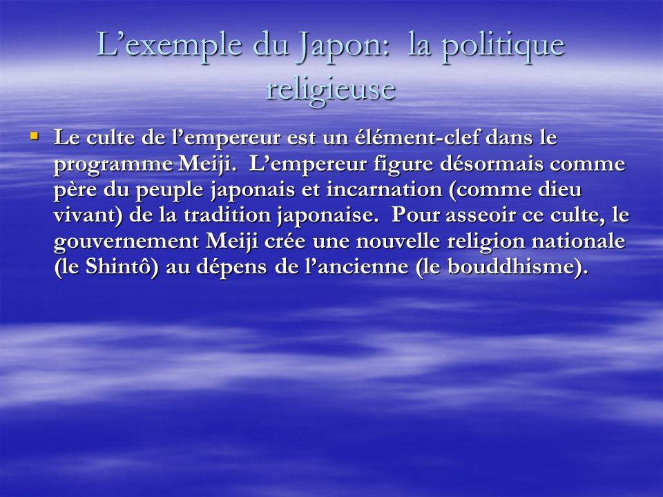 Lexemple du Japon: la politique religieuse Le culte de lempereur est un élément-clef dans le programme Meiji. Lempereur figure désormais comme père du