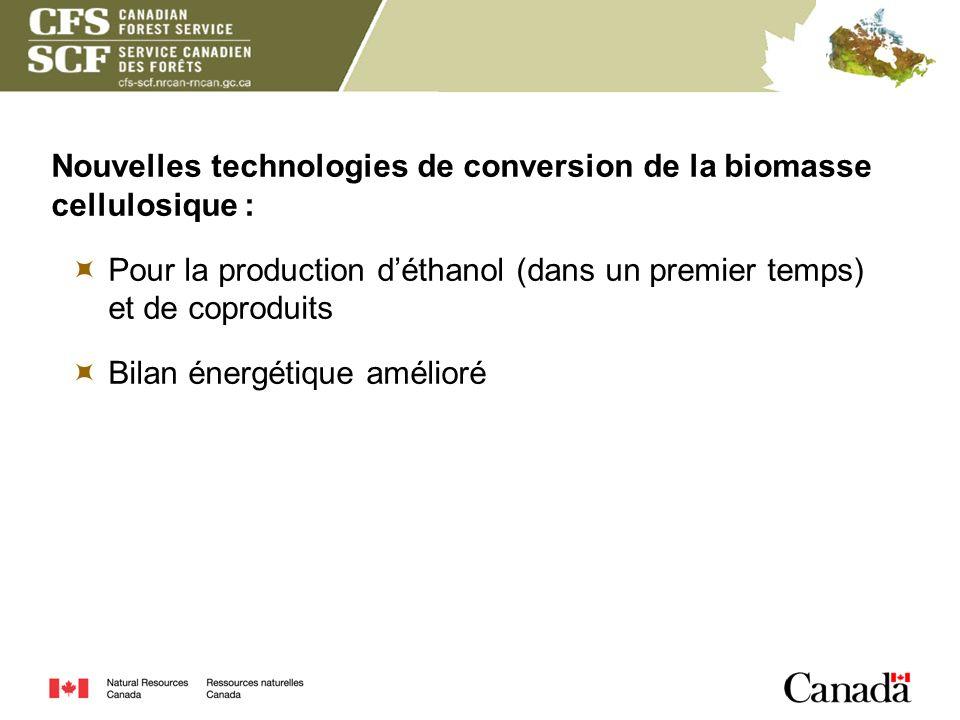Nouvelles technologies de conversion de la biomasse cellulosique : Pour la production déthanol (dans un premier temps) et de coproduits Bilan énergéti