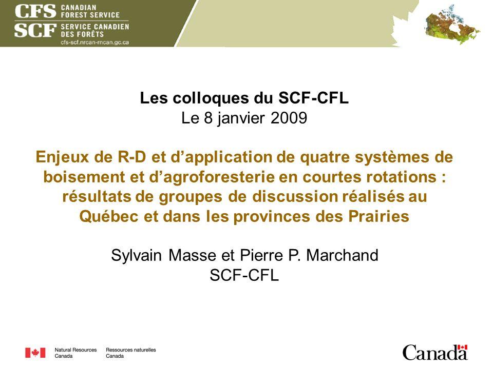 Les colloques du SCF-CFL Le 8 janvier 2009 Enjeux de R-D et dapplication de quatre systèmes de boisement et dagroforesterie en courtes rotations : rés