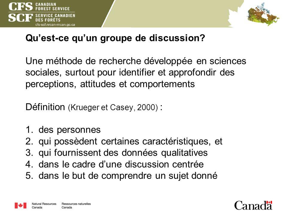 Quest-ce quun groupe de discussion? Une méthode de recherche développée en sciences sociales, surtout pour identifier et approfondir des perceptions,