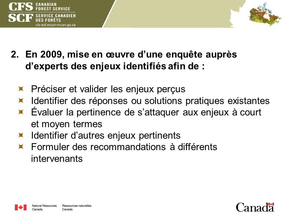 2. En 2009, mise en œuvre dune enquête auprès dexperts des enjeux identifiés afin de : Préciser et valider les enjeux perçus Identifier des réponses o