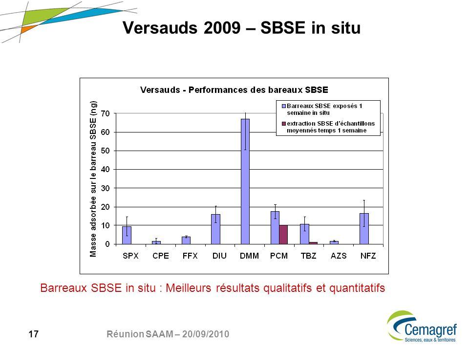 17 Réunion SAAM – 20/09/2010 Versauds 2009 – SBSE in situ Barreaux SBSE in situ : Meilleurs résultats qualitatifs et quantitatifs