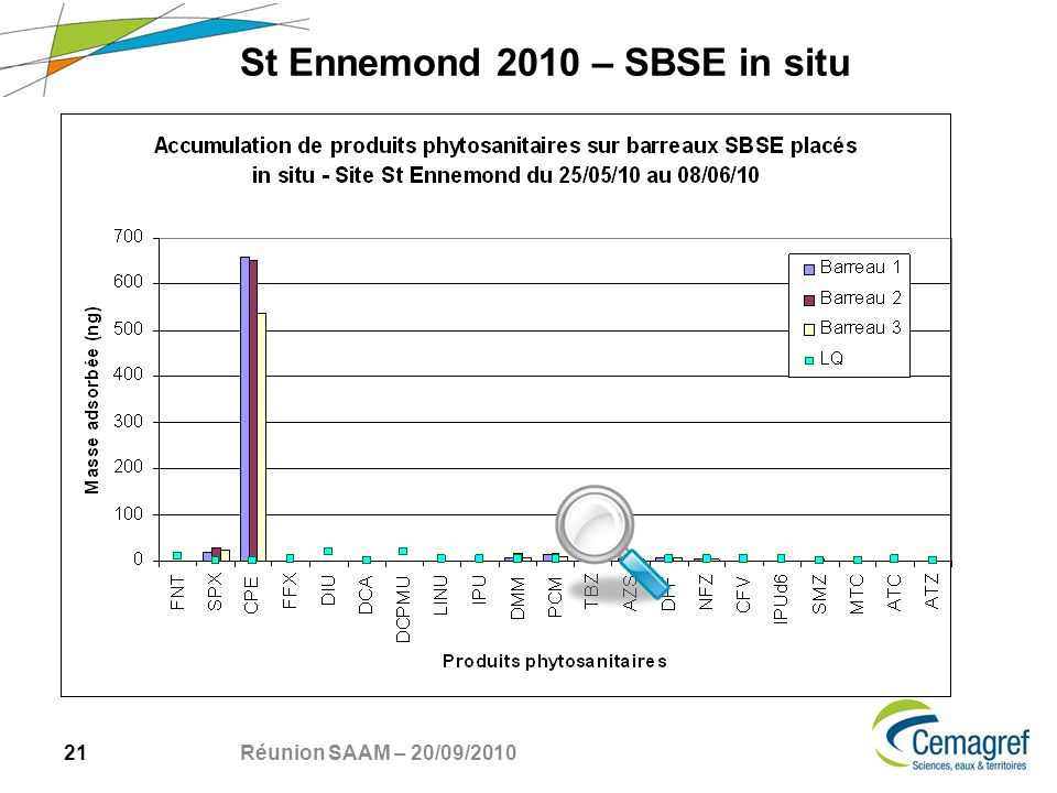 21 Réunion SAAM – 20/09/2010 St Ennemond 2010 – SBSE in situ