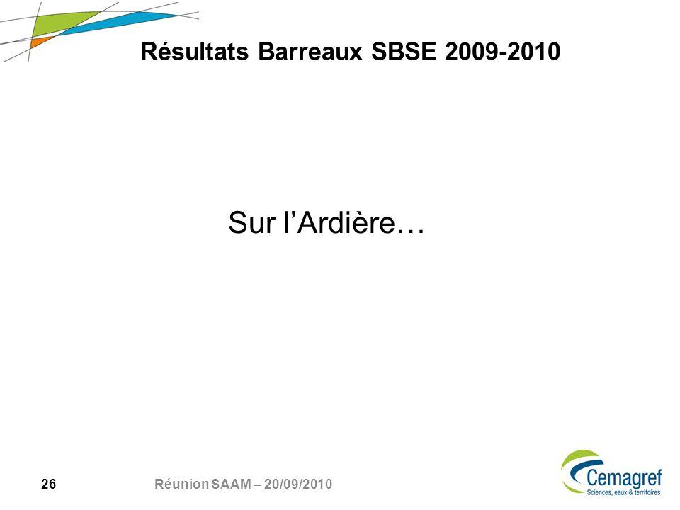 26 Réunion SAAM – 20/09/2010 Sur lArdière… Résultats Barreaux SBSE 2009-2010