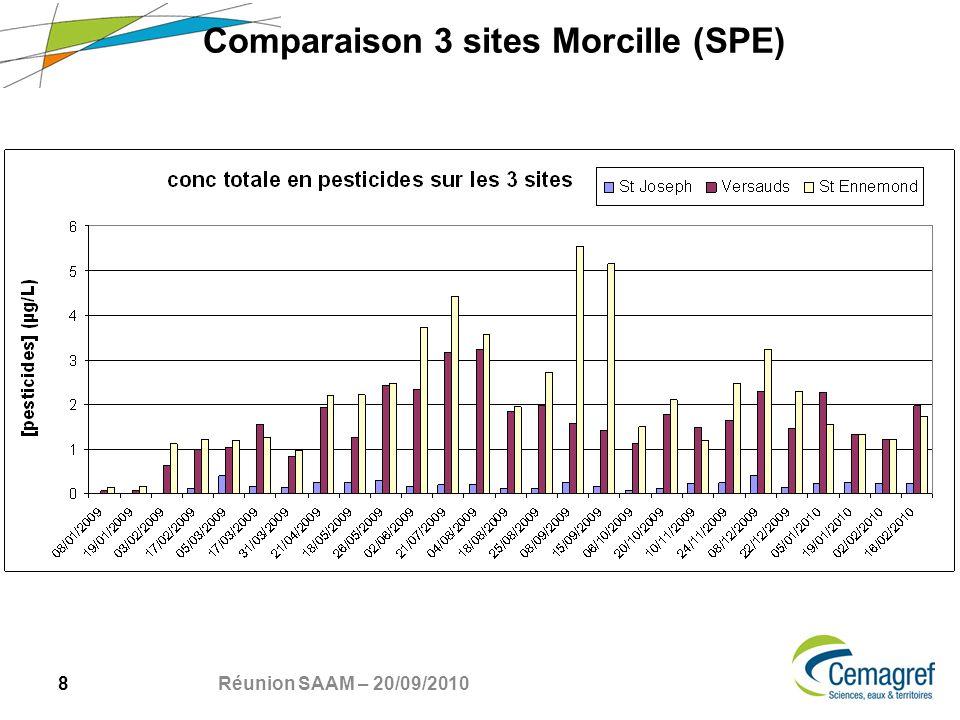 8 Réunion SAAM – 20/09/2010 Comparaison 3 sites Morcille (SPE)
