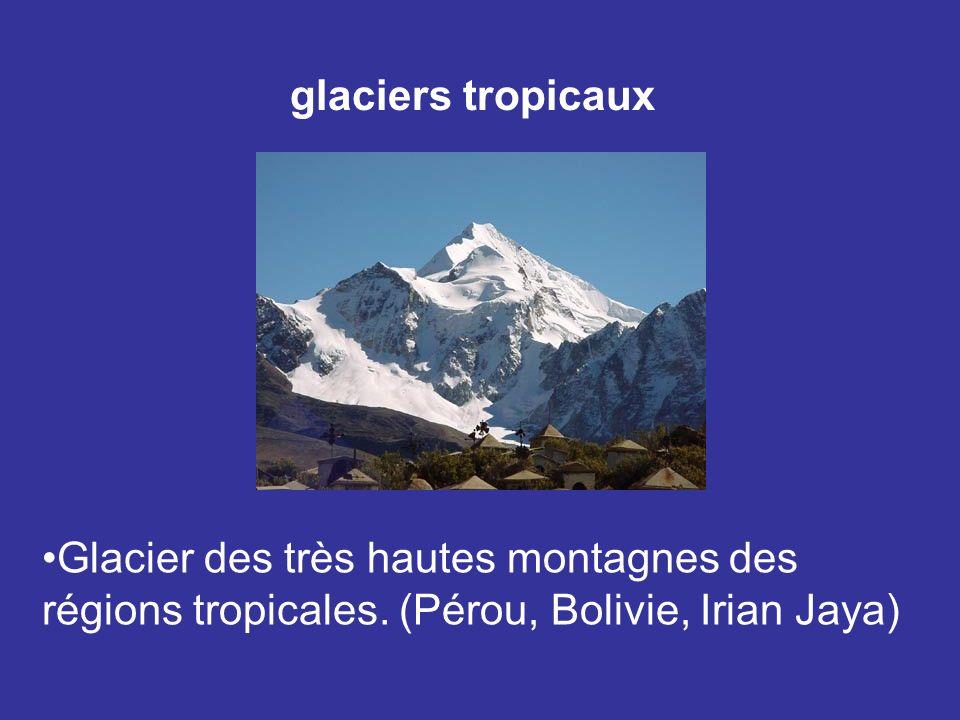 Glacier des très hautes montagnes des régions tropicales. (Pérou, Bolivie, Irian Jaya) glaciers tropicaux