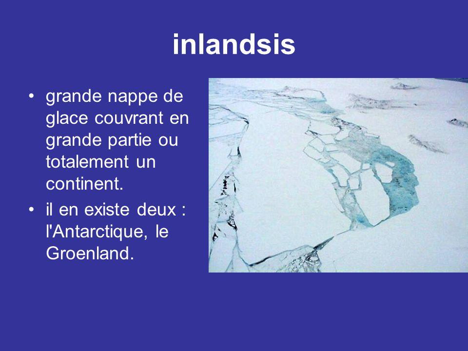 inlandsis grande nappe de glace couvrant en grande partie ou totalement un continent. il en existe deux : l'Antarctique, le Groenland.