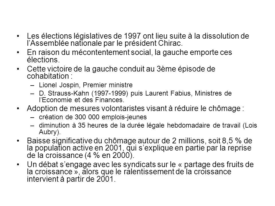 Les élections législatives de 1997 ont lieu suite à la dissolution de lAssemblée nationale par le président Chirac. En raison du mécontentement social